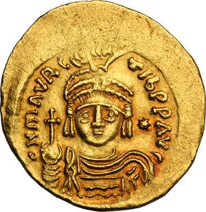 obverse: Maurice Tiberius (582-602). AV light Solidus (= 23 Siliquae), Constantinople mint