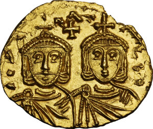 obverse: Constantine V Copronymus with Leo IV (741-775). AV Solidus, Syracuse mint