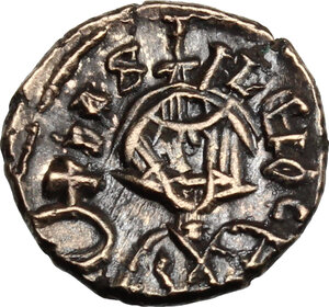 reverse: Basil I the Macedonian (867-886) with Constantine (868-879). Debased AV Semissis, Syracuse mint