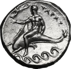 reverse: Southern Apulia, Tarentum. AR Nomos, c. 302-280 BC