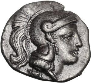 obverse: Southern Apulia, Tarentum. AR Diobol, c. 302-228 BC