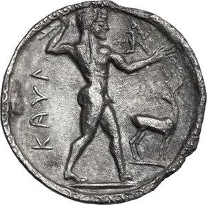 obverse: Bruttium, Kaulonia. AR Stater, c. 525-500 BC