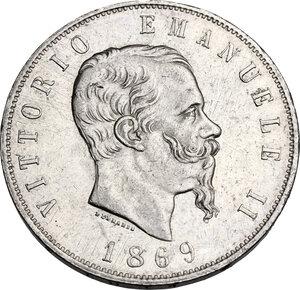 Vittorio Emanuele II  (1861-1878). 5 Lire 1869 Milano