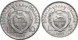 Vittorio Emanuele III (1909-1925). 10 e 5 Lire 1925
