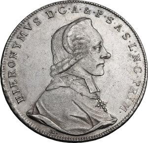 obverse: Austria.  Hieronymus von Colloredo (1772-1803), archpishop. Thaler 1787, Salzbourg mint
