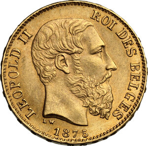 obverse: Belgium.  Leopold II (1835-1909). 20 Francs 1875
