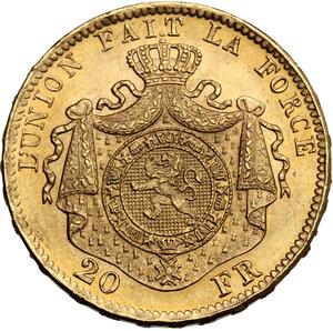 reverse: Belgium.  Leopold II (1835-1909). 20 Francs 1875