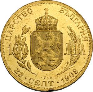 reverse: Bulgaria.  Ferdinand I (1908-1918). 100 Leva 1908 (1912). Commemorating the fourth anniversary of independence. Sophia mint