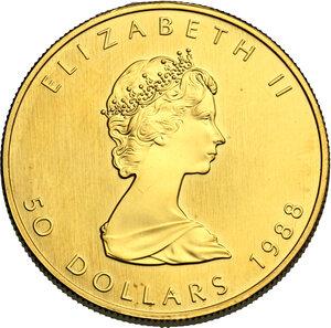 obverse: Canada.  Elizabeth II (1952- ). 50 Dollars 1988