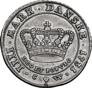 reverse: Denmark.  Christian VI (1730-1746). Krone (4 Mark) 1731, Copenhagen mint