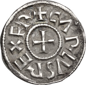obverse: France.  Charlemagne (Charles the Great) (768-814) or Charles le Chauve (the Bald) (840-877). Denier, Melle mint