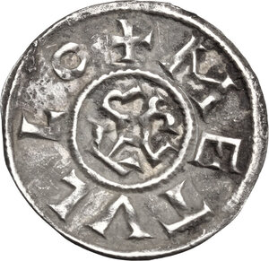 reverse: France.  Charlemagne (Charles the Great) (768-814) or Charles le Chauve (the Bald) (840-877). Denier, Melle mint