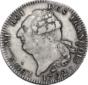 obverse: France.  Louis XVI (1774-1793). Ecu 1792 B, Rouen mint. Constitutional issue
