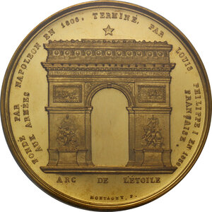 reverse: France.  Louis Philippe I (1830-1848). Medal 1836. On the Completion of the Arc de Triomphe
