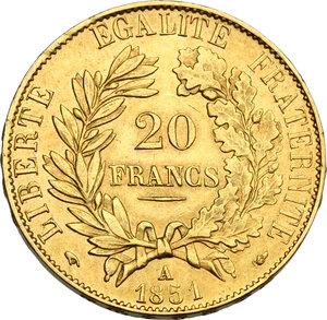 reverse: France.  Second Republic (1848-1851). 20 Francs 1851 A, Paris mint