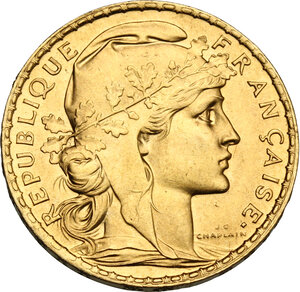 obverse: France.  Third Republic (1870-1940). 20 Francs 1911