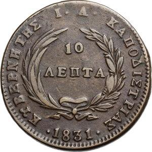 reverse: Greece.  Ioannis Kapodistrias (1828-1831), 1st Governor of Hellenic State. 10 Lepta 1831, Aegina