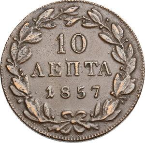 reverse: Greece.  Otto of Bavaria (1832-1862), King of Greece. 10 Lepta 1857