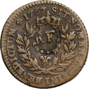 obverse: Guadeloupe.  French Republic. 1 sou 1767 countermarked during Republic time