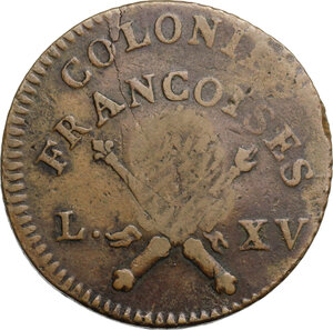 reverse: Guadeloupe.  French Republic. 1 sou 1767 countermarked during Republic time