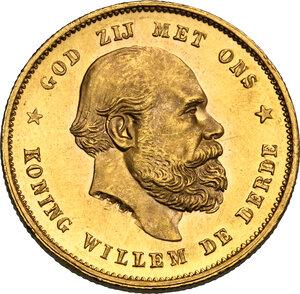 obverse: Netherlands.  Willem III (1849-1890). 10 Gulden 1877