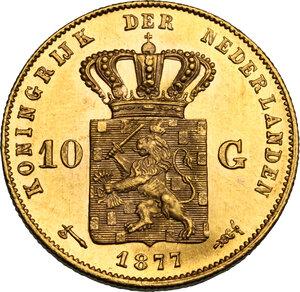 reverse: Netherlands.  Willem III (1849-1890). 10 Gulden 1877