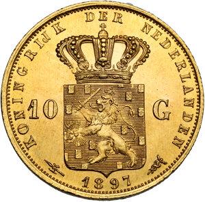 reverse: Netherlands.  Wilhelmina (1890-1948). 10 Gulden 1897