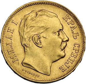 obverse: Serbia.  Milan Obrenovich IV (1868-1889). 20 Dinars 1882