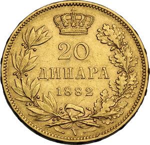 reverse: Serbia.  Milan Obrenovich IV (1868-1889). 20 Dinars 1882