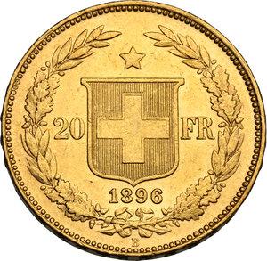 reverse: Switzerland.  Confederation (1848- ). 20 Francs 1896 B, Bern mint