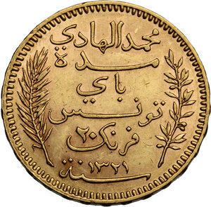 obverse: Tunisie.  French Protectorate, Mohamed El Hadi Bey (1320-1324 AH / 1902-1906). 20 Francs 1904 A, Paris mint