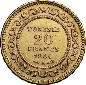 reverse: Tunisie.  French Protectorate, Mohamed El Hadi Bey (1320-1324 AH / 1902-1906). 20 Francs 1904 A, Paris mint