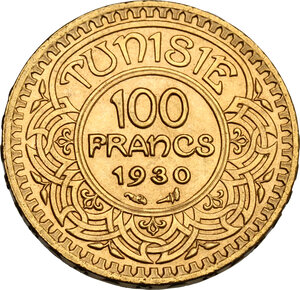 reverse: Tunisie.  French Protectorate, Ahmed Bey (1348-1361 AH / 1929-1942). 100 Francs 1349 AH (1930)