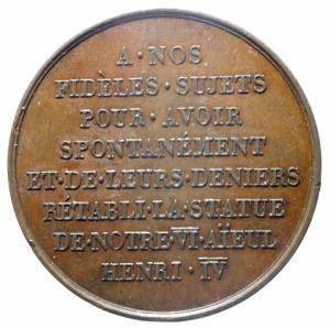 reverse: Medaglie. Francia. Luigi XVIII e Enrico IV. Raccolta fondi per la costruzione della statua equestre dedicata ad Enrico IV. Peso 20,90 gr. Diametro 31,00 mm. SPL.