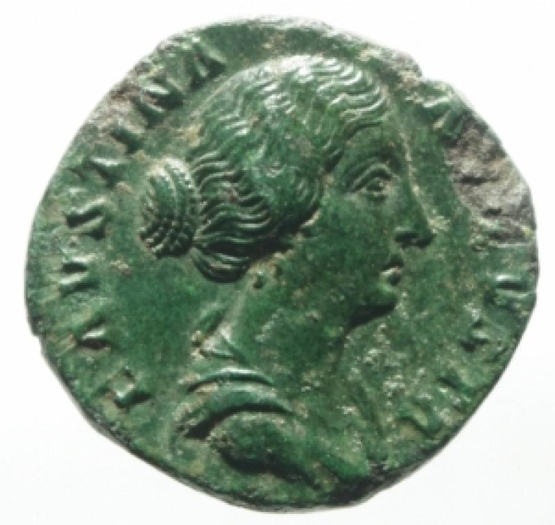 obverse: Impero Romano. Faustina II, morta nel 175 d.C. Asse. Ae. D/ FAVSTINA AVGVSTA, Busto drappeggiato verso destra. R/ FECVND AVGVSTA la Fecondit con 4 bambini . RIC 1636. Peso 9,57 gr. Diametro 22,16 mm. qSPL. Patina Verde. Ex Nomisma 55 lotto 95