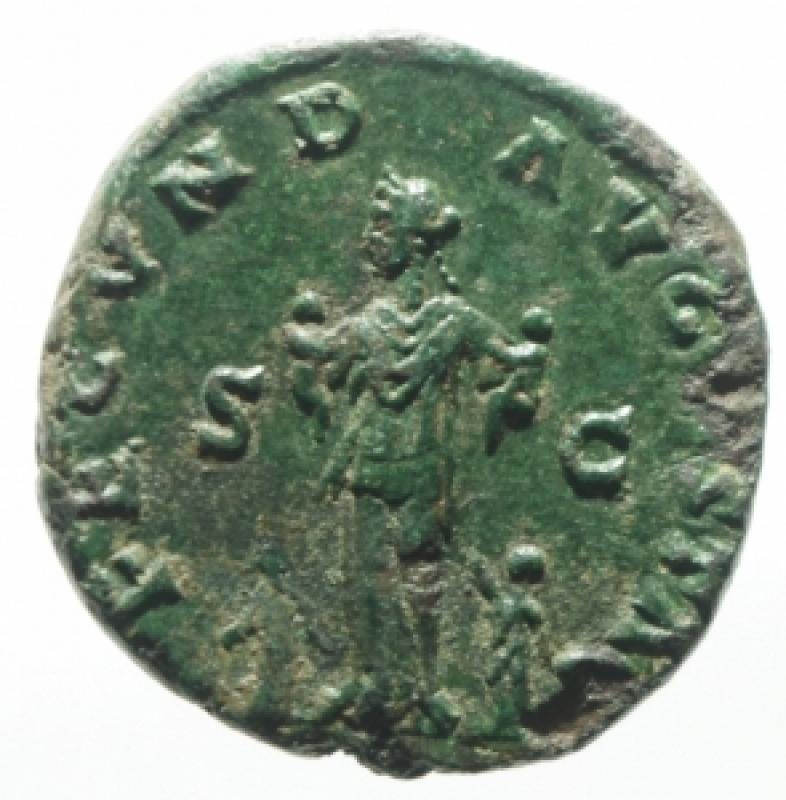 reverse: Impero Romano. Faustina II, morta nel 175 d.C. Asse. Ae. D/ FAVSTINA AVGVSTA, Busto drappeggiato verso destra. R/ FECVND AVGVSTA la Fecondit con 4 bambini . RIC 1636. Peso 9,57 gr. Diametro 22,16 mm. qSPL. Patina Verde. Ex Nomisma 55 lotto 95
