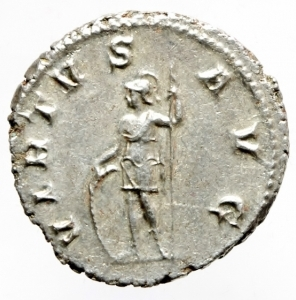 reverse: Impero Romano. Gordiano III. 238-244 d.C. AR Antoniniano. D/ IMP CAES M ANT GORDIANVS PIVS AVG, Testa radiata verso destra. R/ VIRTVS AVG Virtus stante verso sinistra con lancia scudo e ramoscello. RIC.56. Peso 4,75 gr. Diametro 21,00 mm. SPL.