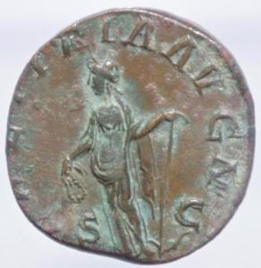 reverse: Impero Romano. Gordiano III. 238-244 d.C. Sesterzio. AE. D/ IMP GORDIANVS PIVS FEL AVG Busto laureato, drappeggiato e corazzato a destra. R/ LAETITIA AVG N S-C Laetitia stante a sinistra tiene un ancora e una corona. RIC 300. C.122. Peso 15.36 gr. Diametro 28,40 mm. BB+. Patina.