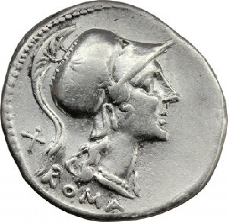 obverse: Repubblica Romana. Denario Anonimo.Ar. 115-114 a.C. D\ Testa elmata della Deam Roma verso destra R\ Roma seduta su scudi con lancia ai suoi piedi la lupa  con i gemelli, in cielo due colombe .Peso 3,90 gr.Diametro 21 mm.Cr.287\1. SPL.