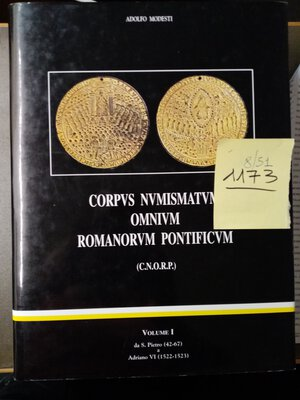 obverse: MODESTI A. CORPVS NUMISMATVM OMNIVM ROMANORVM Vol.1