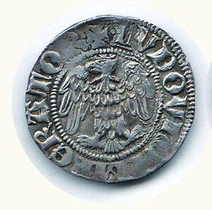 obverse: COMO Franchino I Rusca (1327-1335) Grosso a nome di Ludovico il Bavaro D/Aquila a s.; R/Il Santo assiso di fronte tra F - R. C.N.I. 183/4. g.2,01.