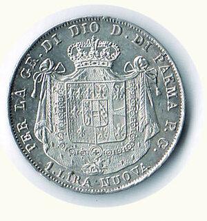 reverse: PARMA - Maria Luigia - Lira 1815 - Fondi lucenti a specchio.
