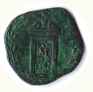 reverse: ROMA - Clemente VIII (1592-1605) - Quattrino pel giubileo del 1600; D/ Stemma; R/ Porta santa con scritta M.D.C.  richiesta 25