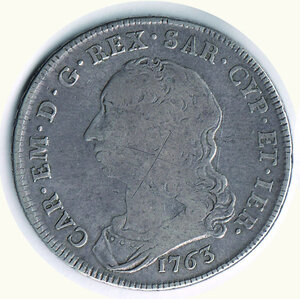 obverse: SAVOIA - Carlo Emanuele III - Scudo da sei Lire 1763.