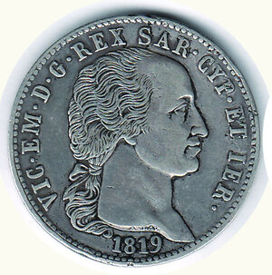 obverse: SAVOIA - Vittorio Emanuele I - 5 Lire 1819.
