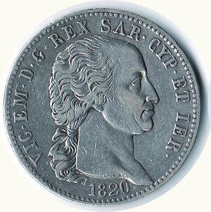 obverse: SAVOIA - Vittorio Emanuele I - 5 Lire 1820.