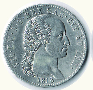 obverse: SAVOIA - Vittorio Emanuele I  - 5 Lire 1818.