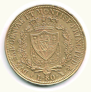 reverse: SAVOIA - Carlo Felice - 80 Lire 1827 To.