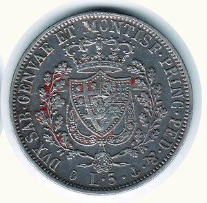 reverse: SAVOIA - Carlo Felice - 5 Lire 1829 Ge