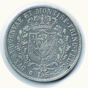 reverse: SAVOIA - Carlo Felice - 5 Lire 1830 Ge.